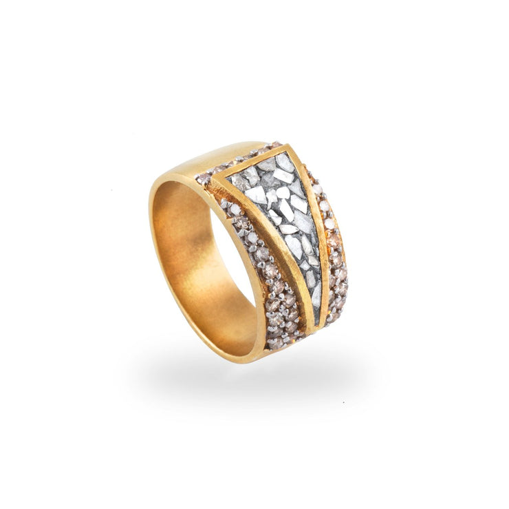 Bokaro  Ring in 18k Gold Vermeil, Raw and Pave Champagne Diamonds