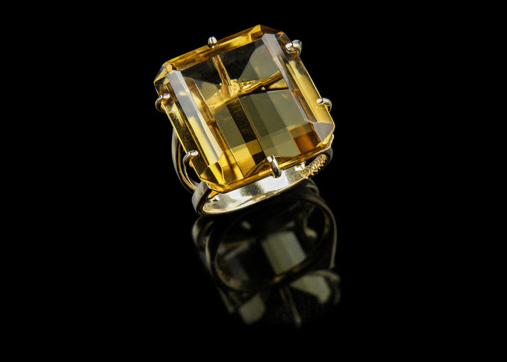 Large Champagne Citrine Statement Ring