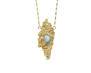 Kindling Solo Pendant with Aquamarine in Brass