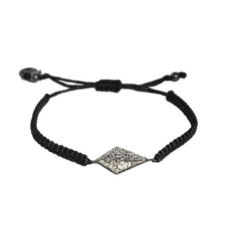 Meera Bracelet, Oxidized Silver with Raw Uncut and Pave Champagne Diamonds