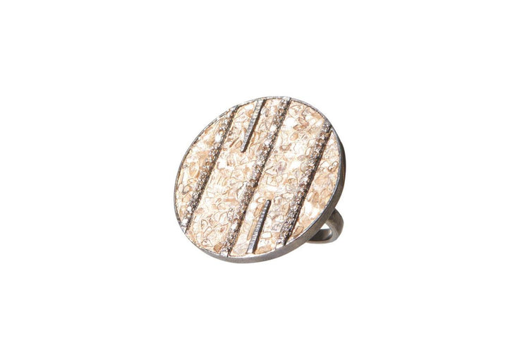 Riffa Ring in Oxidized Silver with Raw and Pave Champagne Diamonds