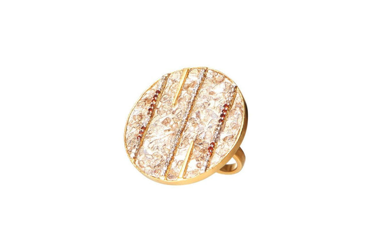 Riffa Ring in 18k Gold Vermeil, Raw and Pave Champagne Diamonds