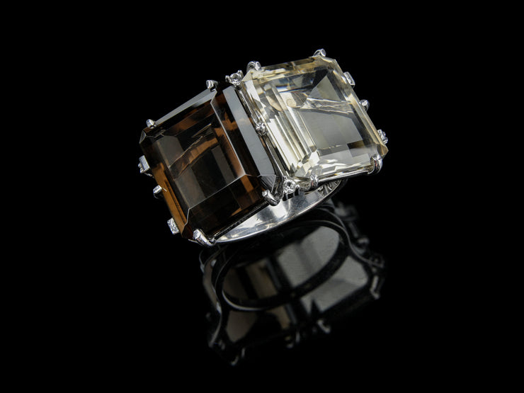 Two-Stone Statement Ring with Smoky Quartz