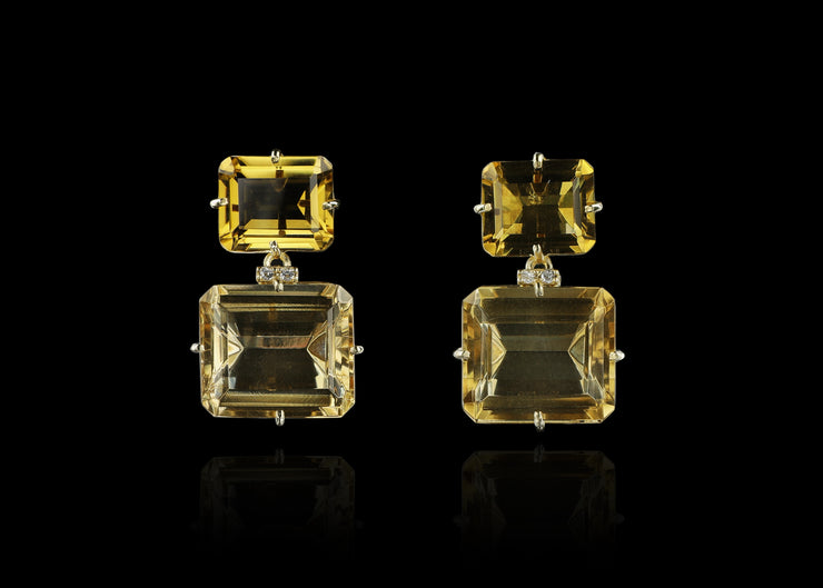 Two-Stone Champagne Citrine and Yellow Light Citrine Post Earrings