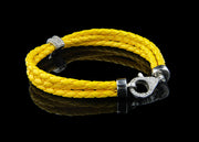 Yellow Leather Bracelet with Diamonds