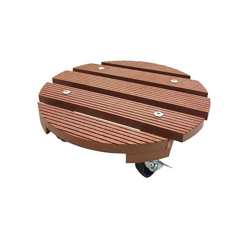 Wagner Round Terra Cotta Plant Caddy, Wood Plastic Composite, 11.4""