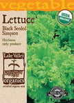 Organic Lettuce Black Seeded Simpson Heirloom