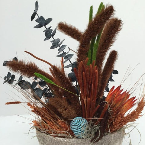 AU_F296_Floral Natural Rust/ Turquoise Arrangement