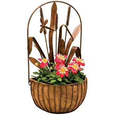 Deer Park Ironworks Dragonfly Wall Planter with coco liner