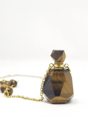 Healing Stone Essential Oil Vial // carved stone // essential oils necklace // perfume bottle // chain // gift// treat yourself