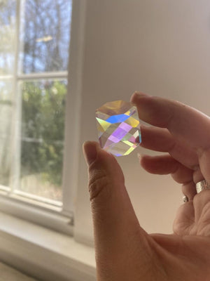 "Rainbow Glass Prism 1"" Suncatcher / Dichroic Glass"