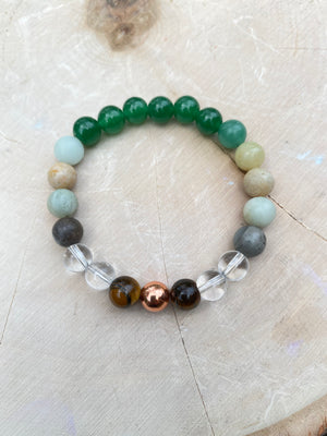 Wealth 8MM Elastic Genuine Gem Bead Bracelet/Christmas Gift Womens Bracelet Natural Green Aventurine AmazoniteTigers Eye  Gemstone Jewelry