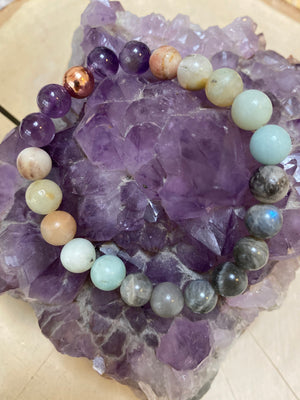 Stress Free 8MM Elastic Genuine Gem Bead Bracelet / Crystal Bracelet / Natural  Amethyst Amazonite Labradorite Gemstone Jewelry