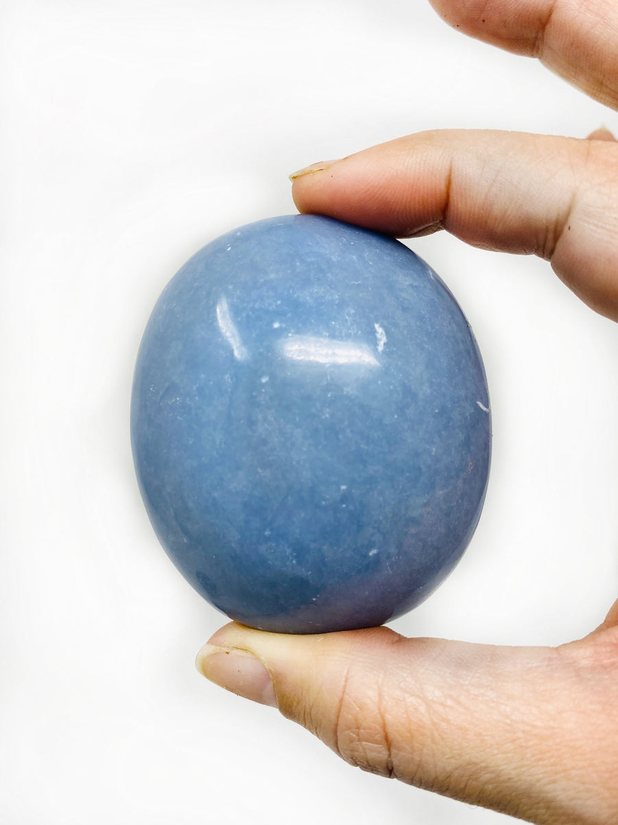 Angelite Polished Palm Stone Angel Communication Intuition Spiritual Awakening