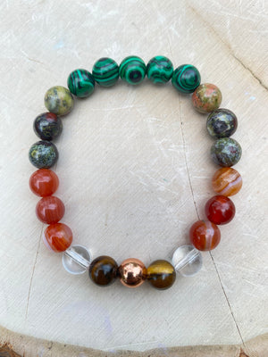 Endurance 8 MM Elastic Genuine Gem Bead Bracelet/Christmas Gift Womens Bracelet Natural Malachite Carnelian Unakite Copper Gemstone Jewelry