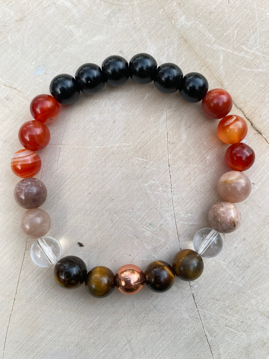 Energize 8MM Elastic Genuine Gem Bead Bracelet/Christmas Gift Womens Bracelet Natural Carnelian Sunstone Tigers Eye Copper Gemstone Jewelry
