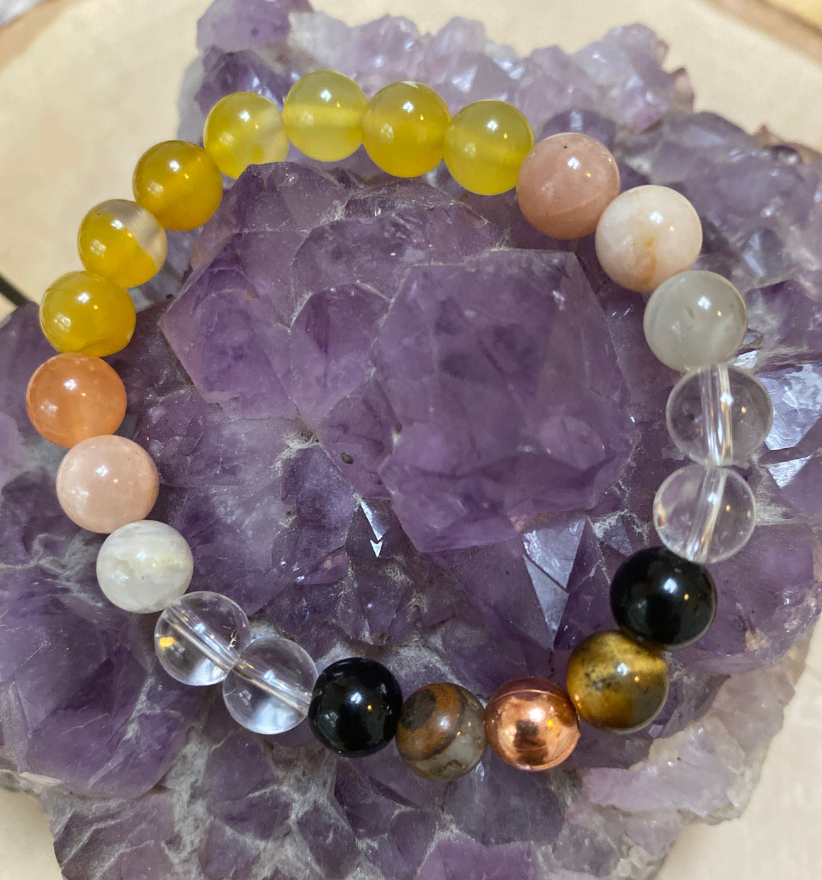 Happiness 8MM Elastic Genuine Gem Bead Bracelet/Christmas Gift Womens Bracelet Natural Yellow Jasper Sunstone Tigers Eye  Gemstone Jewelry