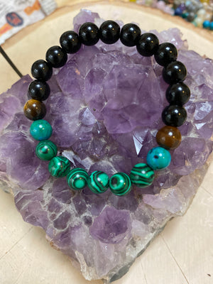 Mens 8MM Elastic Genuine Gem Bead Bracelet/Christmas Gift Mens Unisex Bracelet Natural Malachite Tigers Eye Turqoise  Jewelry