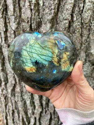 Freedom Rocks Labradorite Heart Stone of Illumination Third Eye Protective Stone / Reiki Healing Crystal All Natural Stone