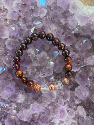 "Valentines Day Gift Set Includes (1) Reignite Desire Gem Bead Bracelet (1) 3"" Cleansing sage Bundle and (1)  2"" Raw Garnet Stone"