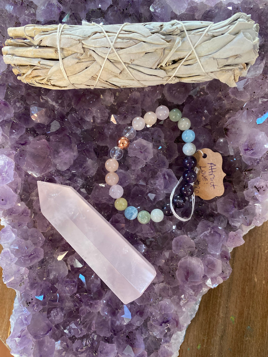 "Ultimate Love Gift Set Includes (1) Attract Love Gem Bead Bracelet (1) 4"" Cleansing sage Bundle and (1)  3"" Tall Rose Quartz Tower"