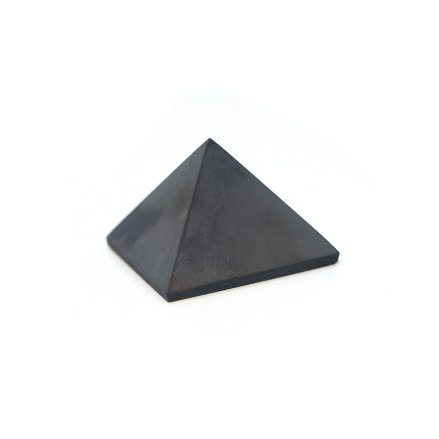 Shungite Polished 40 Millimeter Pyramid / Protection From EMFs (Electromagnetic Frequency) /Detoxifying / High Quality Mineral From Russia