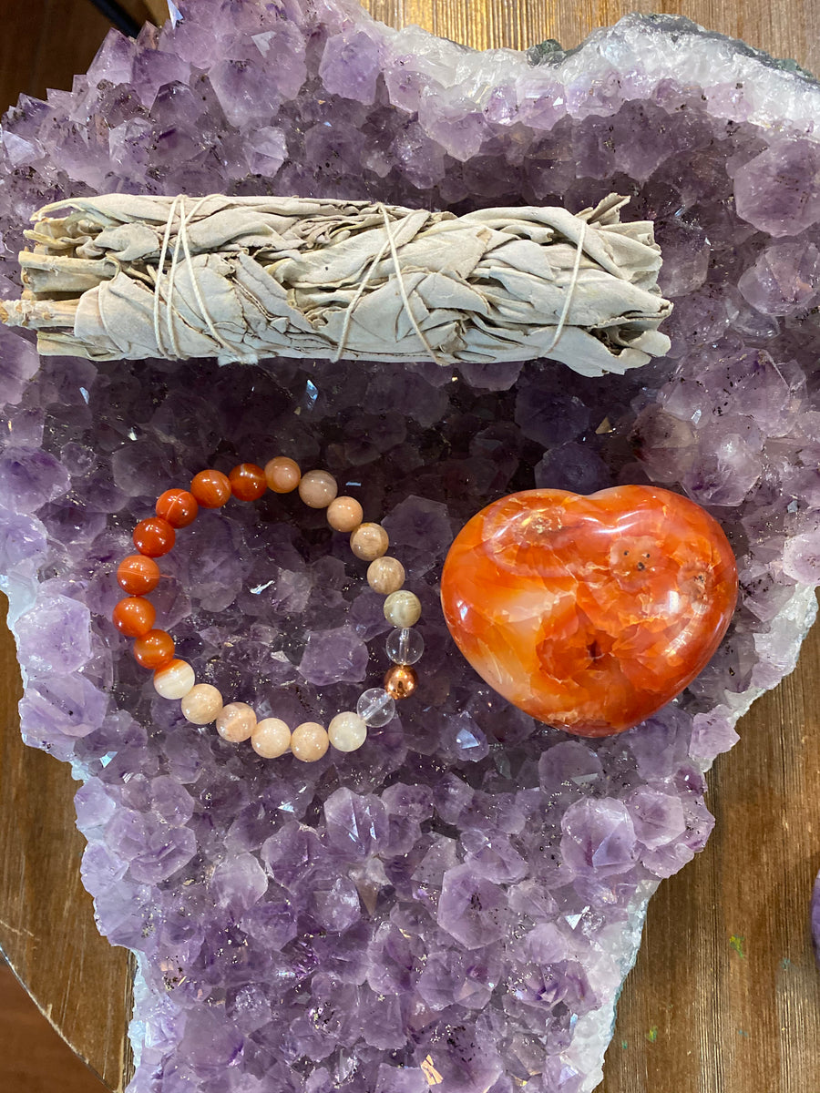 "Valentines Day Gift Set Includes (1) Spark Passion Gem Bead Bracelet (1) 3"" Cleansing sage Bundle and (1)  2-3"" Carneliant Heart"