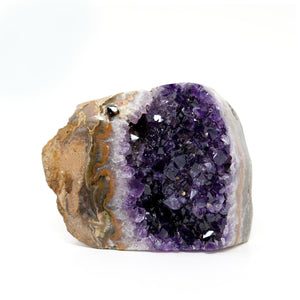 Amethyst Flat Bottom Free Standing Crystal Geode with polished Edges / Relaxing / Spiritual / Calming / Intuition Stone