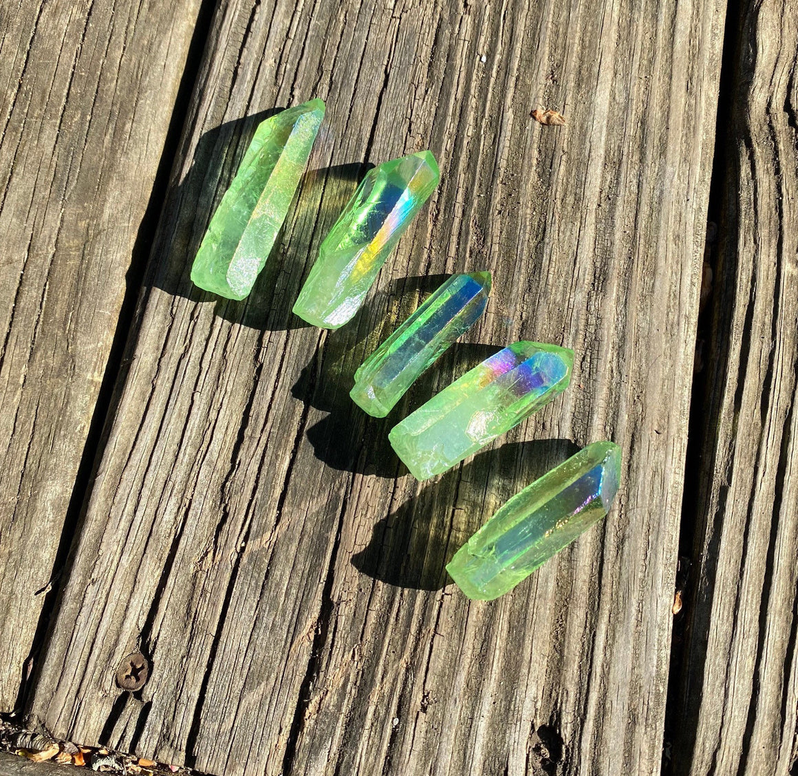 Green Quartz Point Spirit Quartz Green Aura point  Aura Quartz Heart Chakra Stone Anti infection anti inflammatory