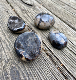 Septarian Dragon Egg Polished Palm Stone with Druze - Confidence Patience and Strength