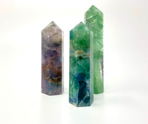 High Quality Rainbow Flourite Point 6 Faceted Reiki Healing Crystal All Natural Stone