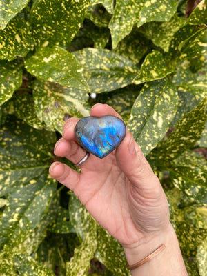 "Natural Labradorite Small Heart Shaped polished Stone about 1"" Across manifestation Intuition Third Eye Stone"