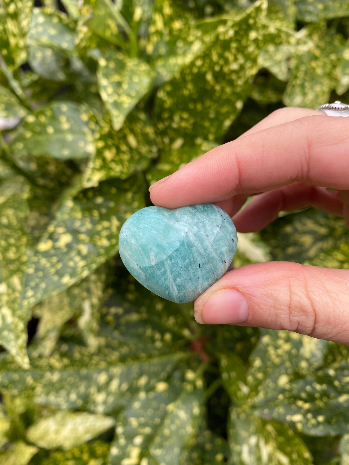 Amazonite Polished Small Heart Shaped Natural Stone -Emotional Balance, Expression, Calm and Inspiration