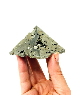 AAA Quality Polished Pyrite Pyramid Peru / Fools Gold / Prosperity/ Warm Radiating Energy/ Protective Stone/ Crystal for Abundance