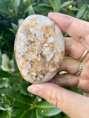 Flower Agate Palm Stone / Cherry Blossom Agate / polished stone / natural crystal