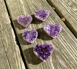 AAA Grade Druzy Amethyst Heart / 1.5 inches across / Spiritual / Intuition / Calm and Relaxing Stone