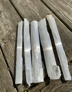 "Raw Selenite Crystal Wands 9-10"" long and 3/4"" thick/ Raw Gypsum / Cleansing / Purifying / Protective / Angelic Guidance / Calming Stone"