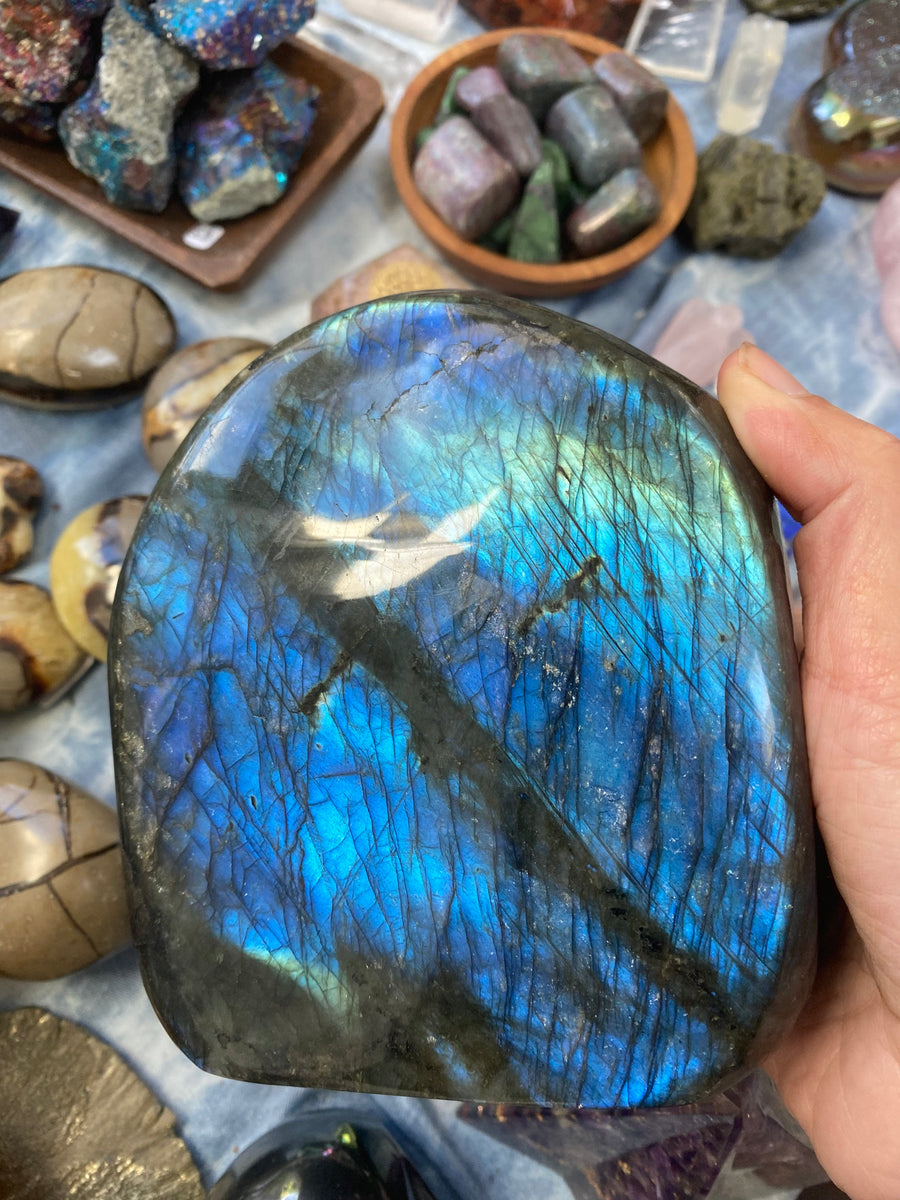 Large Flashy Free Standing Polished Labradorite Stone