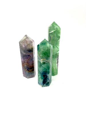 High Quality Rainbow Flourite Point 4-5 Inches tall 6 Faceted Reiki Healing Crystal All Natural Stone