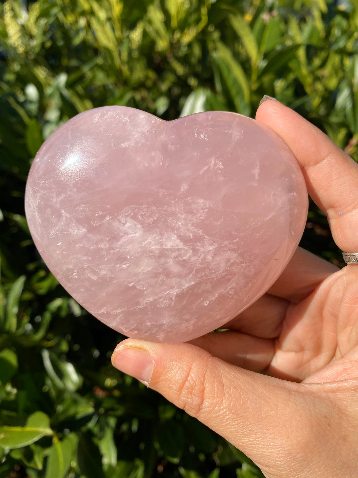 Large Pink Rose Quartz Polished Heart Shaped Natural Stone - unconditional love, compassion empathy and self love