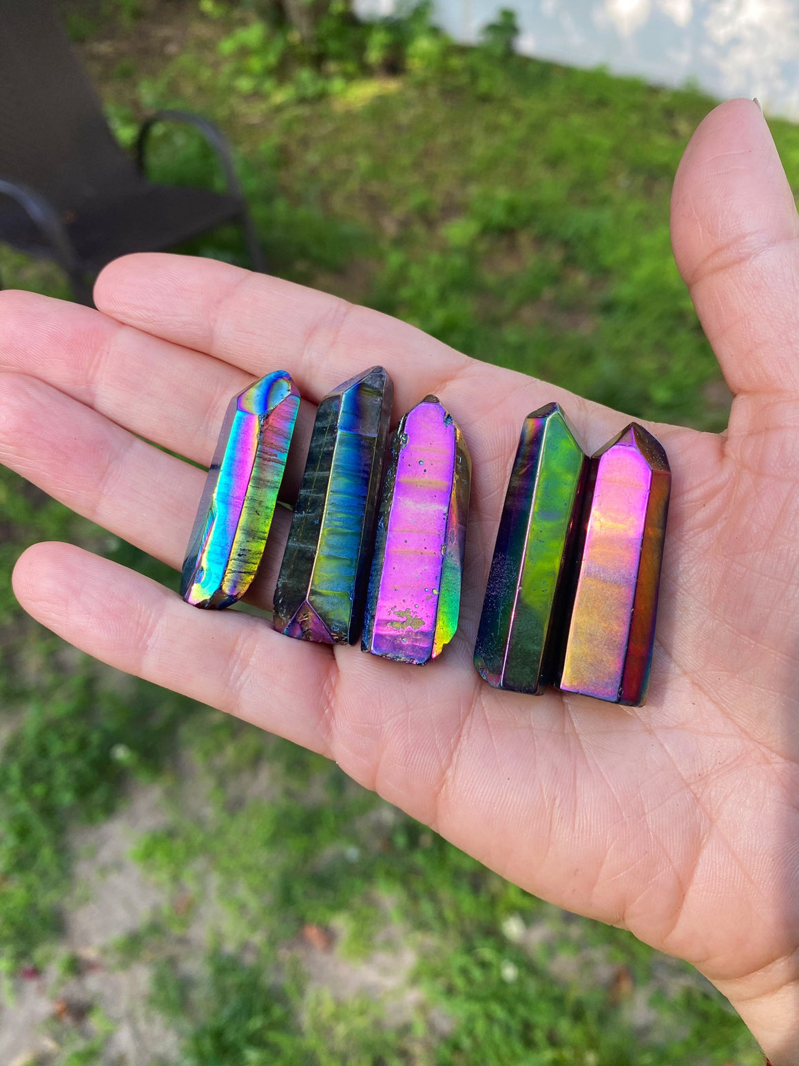 Titanium Aura Quartz Point / Rainbow Aura Quartz/ Aura Quartz Crystal / stone for creativity and Cheerfulness