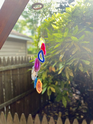 7 Piece Chakra Agate Wind Chimes -  Natural Agate Slices / garden decor / home and garden / Rainbow Agate