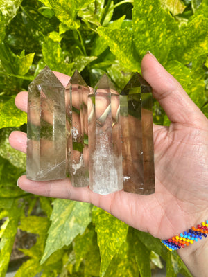 "AAA Grade Smokey Quartz Tower From Brazil/ natural Specimen / Protection / Security  / Boundaries / Grounding / 2.5-3.5"" Tall"