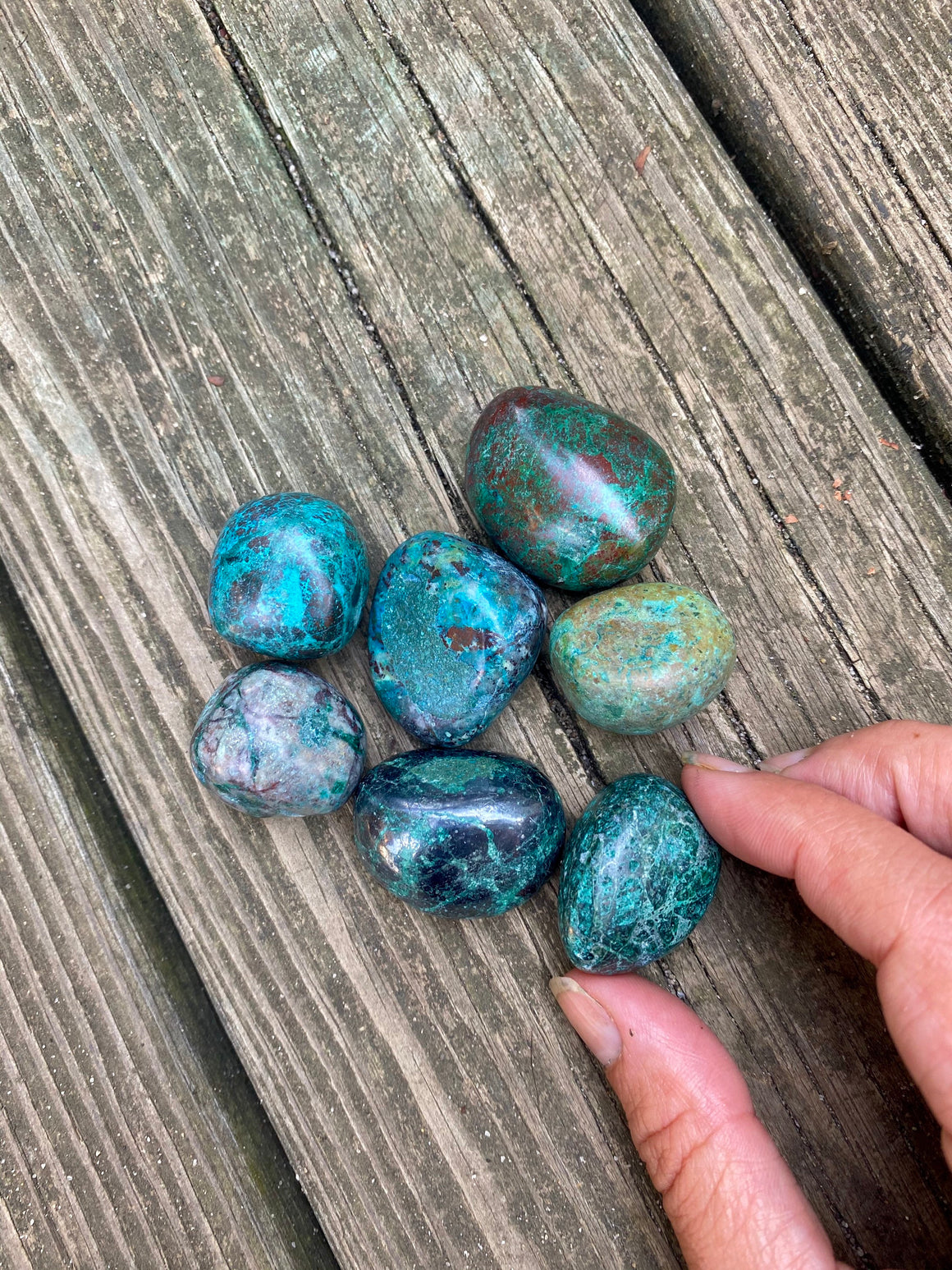 Small Polished High Quality Chrysacolla Tumble Stone / Natural Chrysacolla Crystal / Crystal for Balance New Beginnings and Change