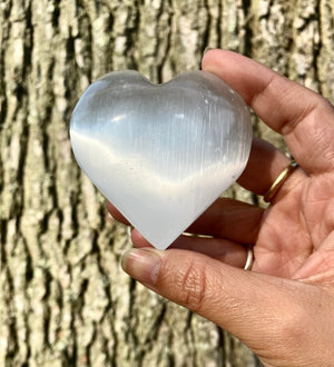 Heart Shaped Selenite Crystal Meditation Palm Stone / Cleansing / Purifying / Protective / Angelic Guidance / Calming Stone