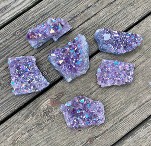 Aura Amethyst Crystal Cluster Extra Quality / 2-3 inches across / Spiritual / Intuition / Calm and Relaxing Stone