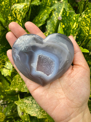 "High Quality Large Agate Heart with Druzy Pocket / Approximately 3-4"" across / Agate Heart / Heart Crystal"