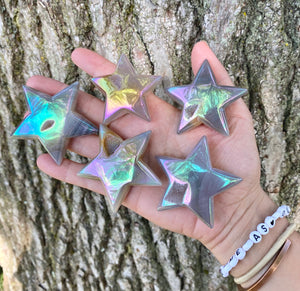High Quality Aura Agate Star with Druzy Pocket / Star shaped Crystal / Rainbow Aura Agate Star