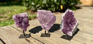 Amethyst on a metal stand / Free Standing Crystal / Relaxing / Spiritual / Calming / Intuition Stone