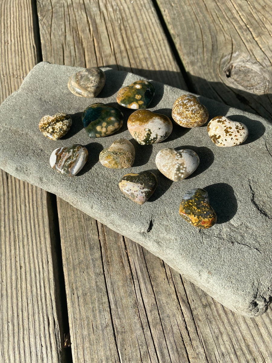 "Ocean Jasper Heart Stone about 1"" Across / Oblicular Jasper / Small Crystal Heart /Natural Supportive Nurturing Crystal"
